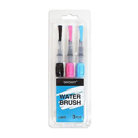 Pincel Reservatório Waterbrush  Sinoart Kit Com 3 Unidades