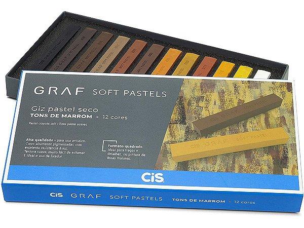 Giz Pastel Seco Cis Graf Soft Pastels 12 Cores Tons De Marrom