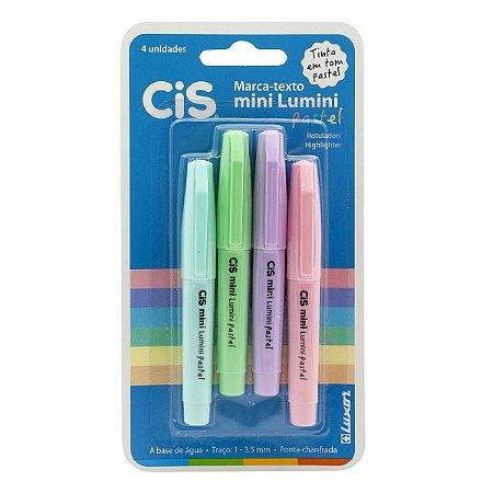 Kit Caneta Marca Texto Cis Mini Lumini Pastel Com 4 Cores