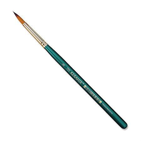 Pincel Redondo Para Aquarela Keramik 705 Num 8 Linha Premium