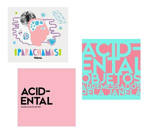 """COMBO CDs: Acidental """"Objetos Arremessados Pela Janela"""" + CD """"Grandes Momentos"""" + CD Parachamas """"Trilogia"""""""