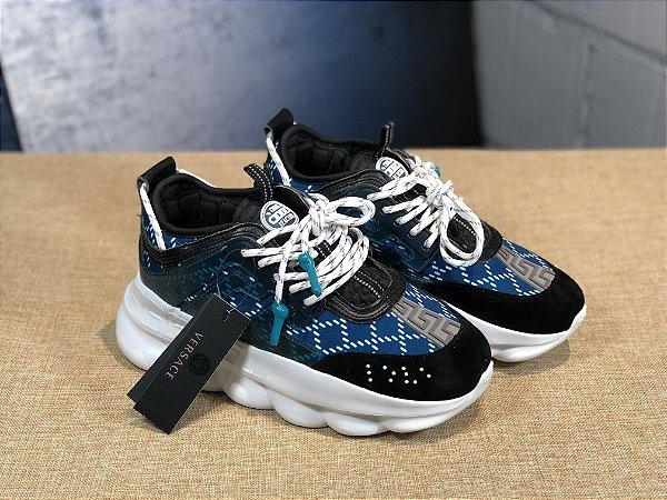 Versace Tênis Chain Reaction - Azul