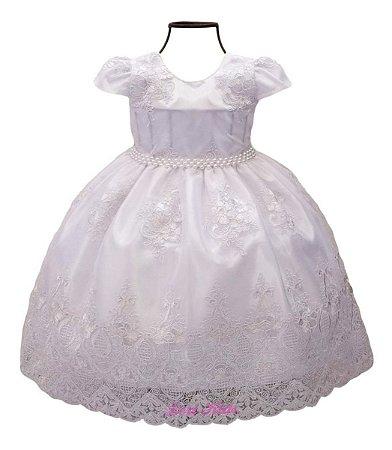 Vestido Infantil Batizado Daminha Formatura Branco Luxo