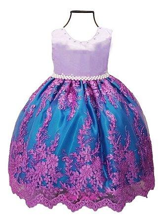 Vestido Infantil Ariel Pequena Sereia Luxo