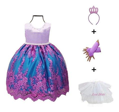 Vestido Luxo Infantil Pequena Sereia Ariel Princesa Realeza