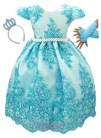Vestido Cinderela Princesa Realeza  Luxo Tiara E Luva