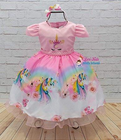 Vestido Infantil Unicórnio Luxo Festa 2 a 10 anos