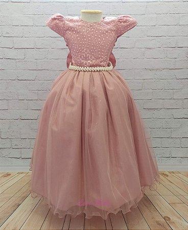 Vestido Longo Infantil Daminha Casamento Formatura 4 A 12