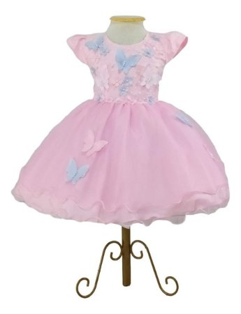 Vestido Luxo Infantil Tema Jardim Encantado Borboletas 1,2
