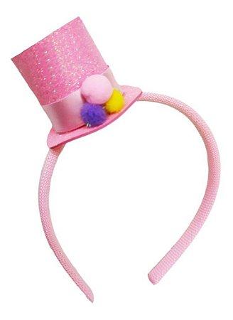 Tiara Cartola Circo Rosa Aniversário Festa Infantil