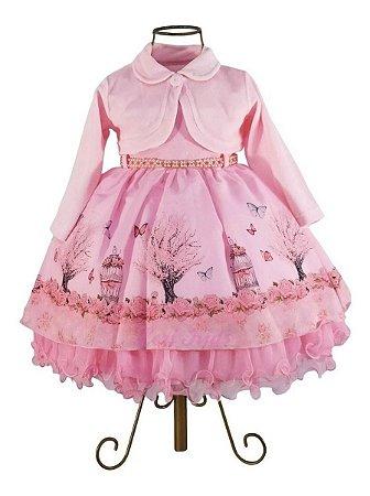 Vestido Luxo Festa Infantil Tema Jardim Encantado +  Bolero