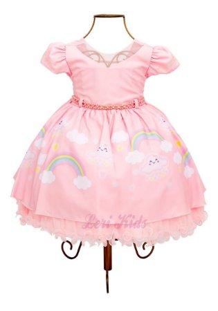 Vestido Chuva De Amor e de Benção Luxo Festa Infantil