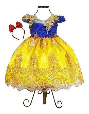 Vestido Infantil Branca De Neve Luxo Realeza + Tiara Brinde