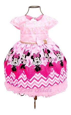 Vestido Luxo Festa Infantil Minnie Rosa 1 A 4  Anos