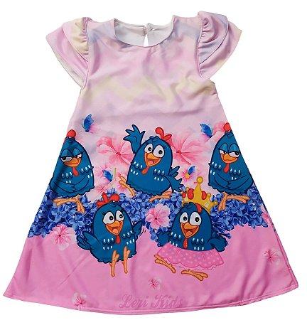 Vestido Infantil Galinha Pintadinha Candy color Trapézio