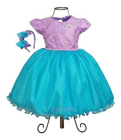 Vestido Ariel Pequena Sereia Luxo + Tiara Brinde
