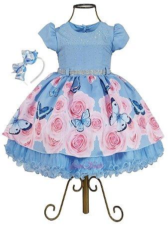 Vestido Infantil Jardim Encantado das Borboletas e tiara