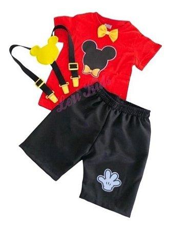 Conjunto Festa Infantil Tema Mickey Menino 1,2,3  Anos