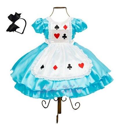 Vestido Luxo Infantil Alice No País Das Maravilhas