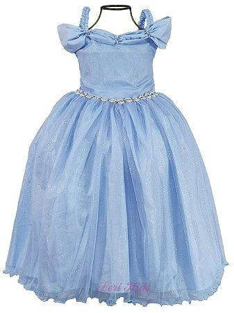 Vestido longo infantil modelo Princesa Cinderela Luxo