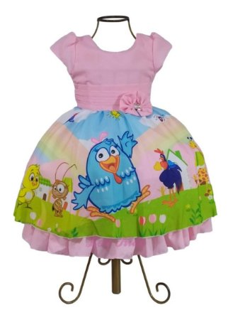 Vestido Luxo Infantil Galinha Pintadinha Candy Color 1 Ano