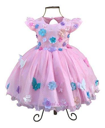 Vestido Luxo Infantil Jardim Encantado Apliques Borboletas