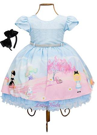 Vestido Festa Infantil Alice No País Das Maravilhas