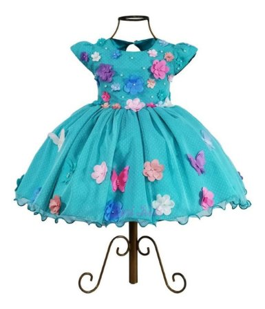 Vestido Luxo Infantil Tema Jardim Encantado 1,2,3,4 Anos