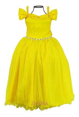 Vestido Bela E A Fera Luxo Infantil Festa Aniversário Longo