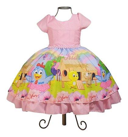 Vestido Luxo Galinha Pintadinha Candy Color Rosa