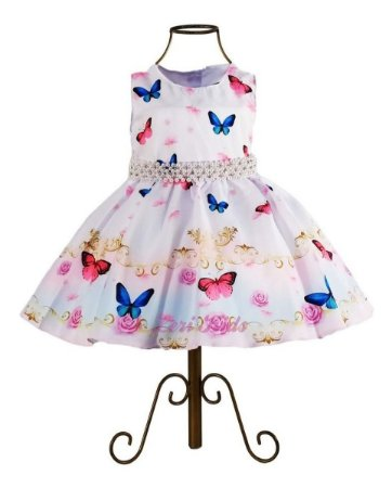 Vestido Infantil Tema Jardim Encantado  Luxo