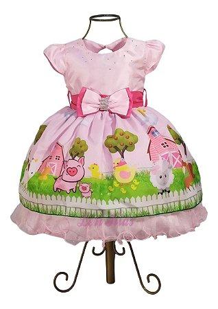 Vestido Luxo Fazendinha Rosa 1 Ano