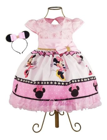 Vestido Luxo Infantil Minnie Rosa + Tiara