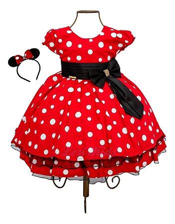 Vestido Minnie Vermelho Luxo Festa Infantil 1,2,3 Anos