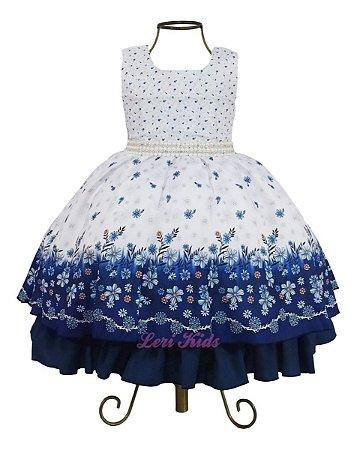 Vestido Festa Infantil Floral Luxo 3 A 12 Anos