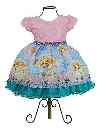 Vestido Ariel Pequena Sereia Luxo Infantil 1,2,3 Anos