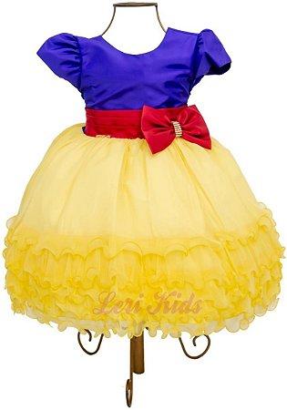 Vestido Branca De Neve Infantil Luxo Princesa