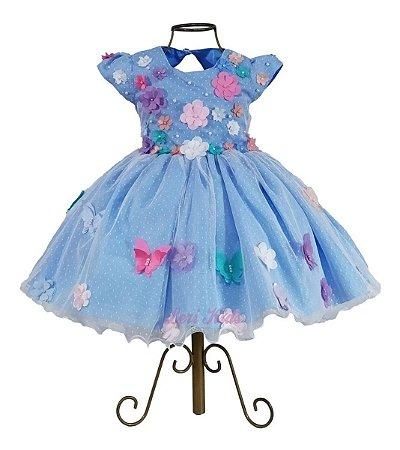 Vestido Jardim Encantado Luxo Apliques Borboletas Azul