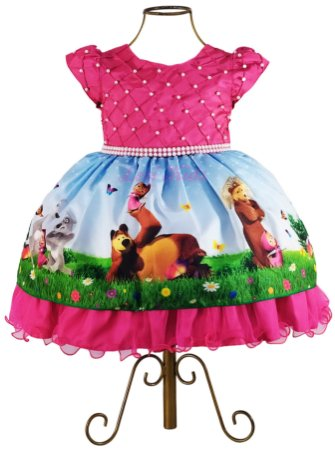 Vestido Luxo Festa Infantil Masha E O Urso