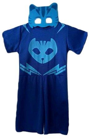 Fantasia Infantil Menino Gato PJ Masks Azul com Máscara