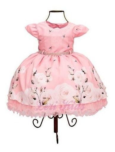 Vestido Floral Rosa Luxo Festa Infantil Jardim Encantado