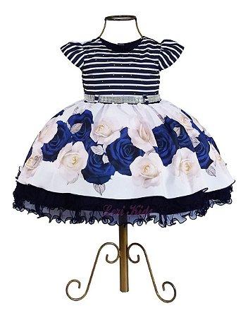 Vestido Infantil Azul Marinho Luxo Princesa 1,2,3 Anos