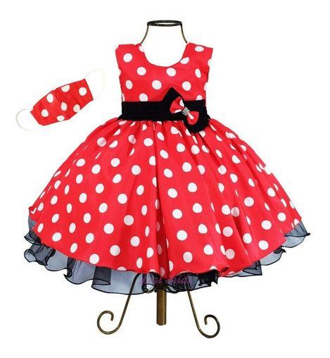 Vestido Festa Infantil Luxo Tema Minnie Vermelho Com Mascara