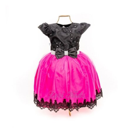 Vestido Luxo Festa Infantil Preto  E Pink