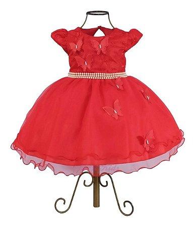 Vestido Luxo Festa Infantil Vermelho 1 A 4 Anos