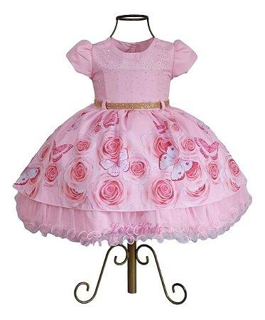 Vestido Luxo Infantil Jardim Encantado Borboletas