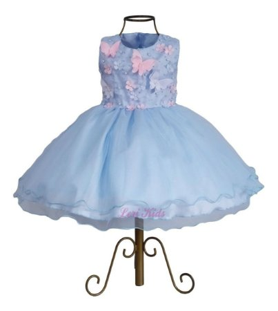 Vestido Jardim Encantado Borboletas Azul Luxo Infantil Tema