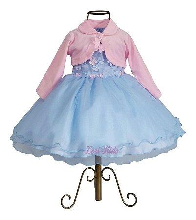 Vestido Jardim Encantado Borboletas Luxo Com Bolero Rosa