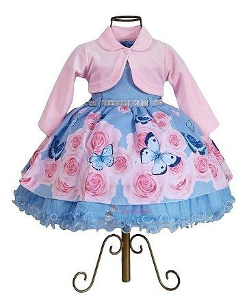 Vestido Jardim Encantado Azul Casamento + Bolero 1,2,3 Anos