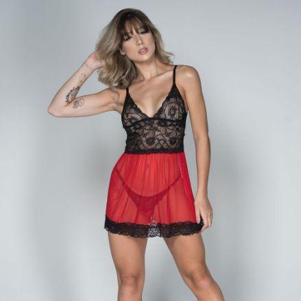 Camisola Sexy Renda Lingerie Feminina Com Tanga Fio Sensual